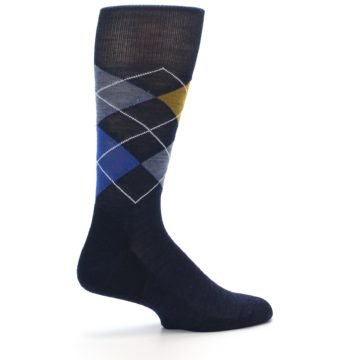 Image of Navy Blue Gold Argyle Wool Men's Casual Socks (side-1-23)