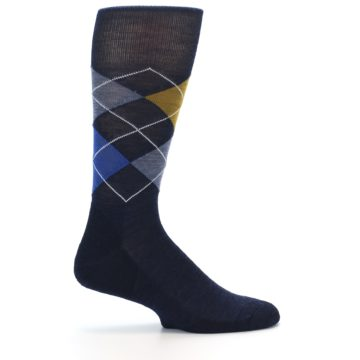 Image of Navy Blue Gold Argyle Wool Men's Casual Socks (side-1-24)