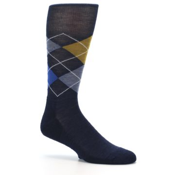 Image of Navy Blue Gold Argyle Wool Men's Casual Socks (side-1-26)