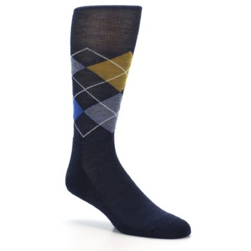 Image of Navy Blue Gold Argyle Wool Men's Casual Socks (side-1-27)
