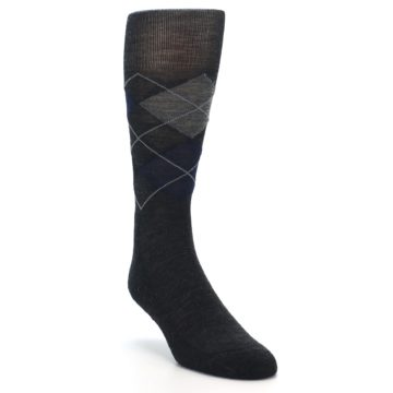 Image of Charcoal Navy Argyle Wool Men's Casual Socks (side-1-front-02)