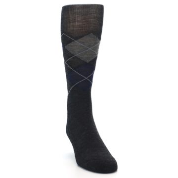 Image of Charcoal Navy Argyle Wool Men's Casual Socks (side-1-front-03)