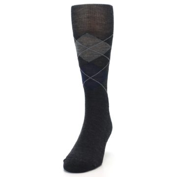 Image of Charcoal Navy Argyle Wool Men's Casual Socks (side-2-front-06)