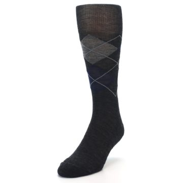 Image of Charcoal Navy Argyle Wool Men's Casual Socks (side-2-front-07)