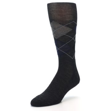 Image of Charcoal Navy Argyle Wool Men's Casual Socks (side-2-front-08)