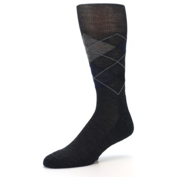 Image of Charcoal Navy Argyle Wool Men's Casual Socks (side-2-09)
