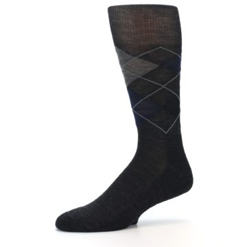 Image of Charcoal Navy Argyle Wool Men's Casual Socks (side-2-10)
