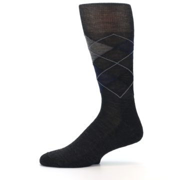 Image of Charcoal Navy Argyle Wool Men's Casual Socks (side-2-11)