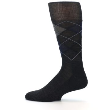 Image of Charcoal Navy Argyle Wool Men's Casual Socks (side-2-12)