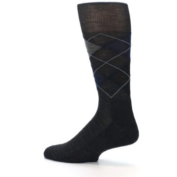 Image of Charcoal Navy Argyle Wool Men's Casual Socks (side-2-13)