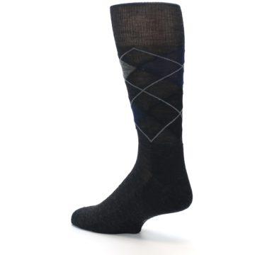 Image of Charcoal Navy Argyle Wool Men's Casual Socks (side-2-back-14)