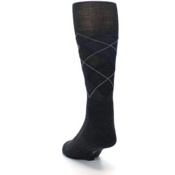 Image of Charcoal Navy Argyle Wool Men's Casual Socks (side-2-back-16)