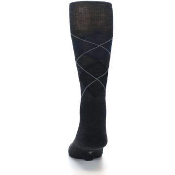 Image of Charcoal Navy Argyle Wool Men's Casual Socks (back-17)