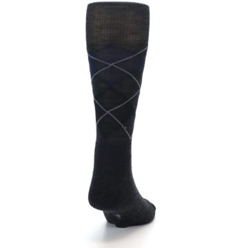 Image of Charcoal Navy Argyle Wool Men's Casual Socks (back-19)