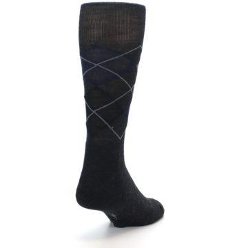 Image of Charcoal Navy Argyle Wool Men's Casual Socks (side-1-back-20)