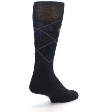 Image of Charcoal Navy Argyle Wool Men's Casual Socks (side-1-back-21)