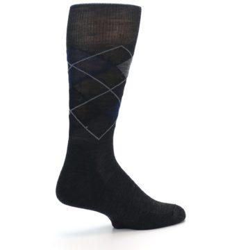 Image of Charcoal Navy Argyle Wool Men's Casual Socks (side-1-back-22)