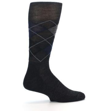 Image of Charcoal Navy Argyle Wool Men's Casual Socks (side-1-23)