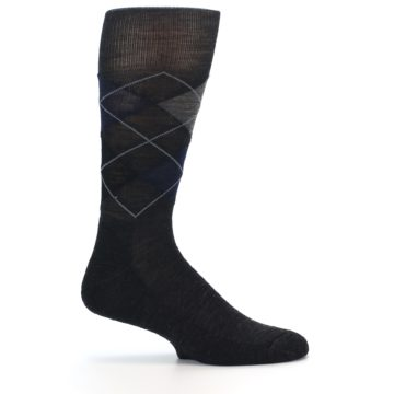 Image of Charcoal Navy Argyle Wool Men's Casual Socks (side-1-24)
