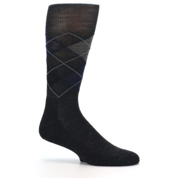 Image of Charcoal Navy Argyle Wool Men's Casual Socks (side-1-25)