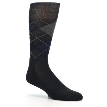 Image of Charcoal Navy Argyle Wool Men's Casual Socks (side-1-26)