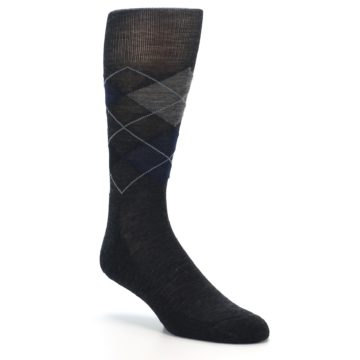 Image of Charcoal Navy Argyle Wool Men's Casual Socks (side-1-27)