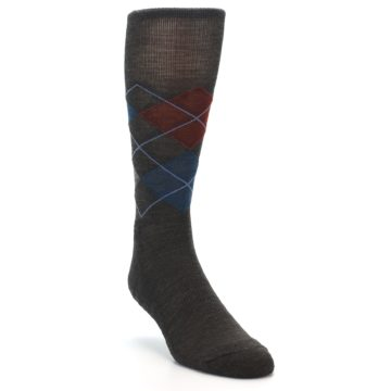 Image of Brown Red Blue Argyle Wool Men's Casual Socks (side-1-front-02)