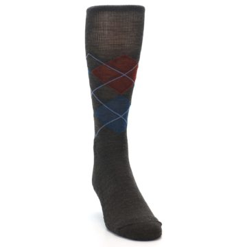 Image of Brown Red Blue Argyle Wool Men's Casual Socks (side-1-front-03)
