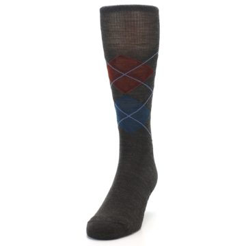 Image of Brown Red Blue Argyle Wool Men's Casual Socks (side-2-front-06)