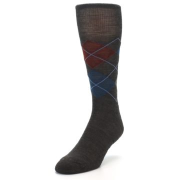 Image of Brown Red Blue Argyle Wool Men's Casual Socks (side-2-front-07)