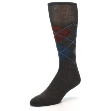 Image of Brown Red Blue Argyle Wool Men's Casual Socks (side-2-front-08)