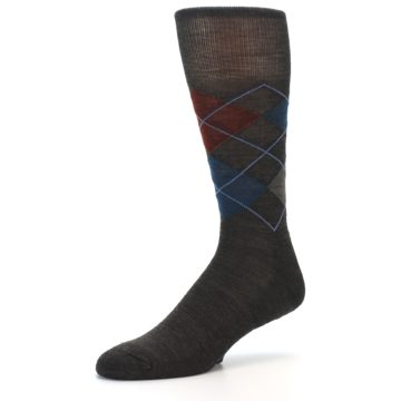 Image of Brown Red Blue Argyle Wool Men's Casual Socks (side-2-09)