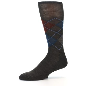 Image of Brown Red Blue Argyle Wool Men's Casual Socks (side-2-10)