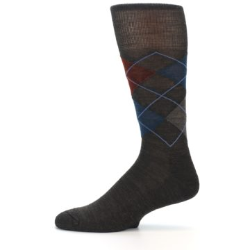 Image of Brown Red Blue Argyle Wool Men's Casual Socks (side-2-11)