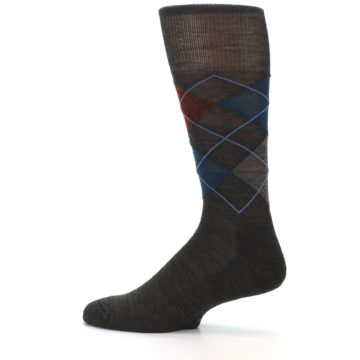 Image of Brown Red Blue Argyle Wool Men's Casual Socks (side-2-12)