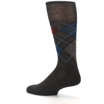 Image of Brown Red Blue Argyle Wool Men's Casual Socks (side-2-13)
