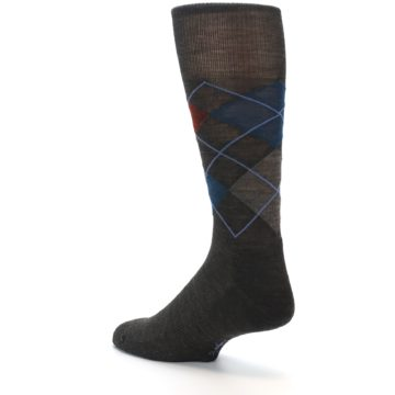 Image of Brown Red Blue Argyle Wool Men's Casual Socks (side-2-back-14)