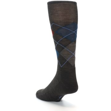 Image of Brown Red Blue Argyle Wool Men's Casual Socks (side-2-back-15)