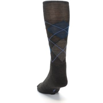 Image of Brown Red Blue Argyle Wool Men's Casual Socks (side-2-back-16)