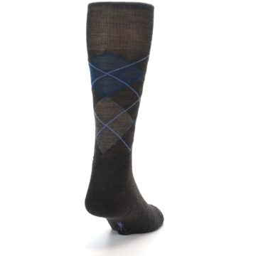 Image of Brown Red Blue Argyle Wool Men's Casual Socks (back-19)