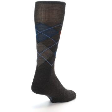 Image of Brown Red Blue Argyle Wool Men's Casual Socks (side-1-back-20)