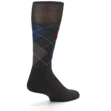 Image of Brown Red Blue Argyle Wool Men's Casual Socks (side-1-back-21)