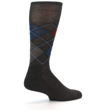 Image of Brown Red Blue Argyle Wool Men's Casual Socks (side-1-back-22)