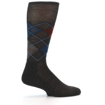 Image of Brown Red Blue Argyle Wool Men's Casual Socks (side-1-23)