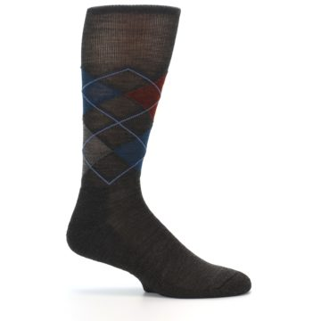 Image of Brown Red Blue Argyle Wool Men's Casual Socks (side-1-24)