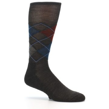 Image of Brown Red Blue Argyle Wool Men's Casual Socks (side-1-25)