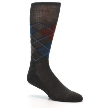 Image of Brown Red Blue Argyle Wool Men's Casual Socks (side-1-26)