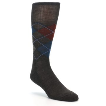 Image of Brown Red Blue Argyle Wool Men's Casual Socks (side-1-27)