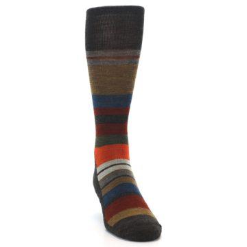 Image of Brown Multi Stripe Wool Men's Casual Socks (front-04)