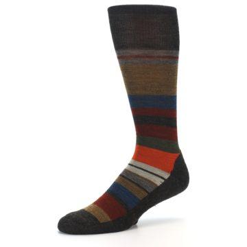 Image of Brown Multi Stripe Wool Men's Casual Socks (side-2-10)